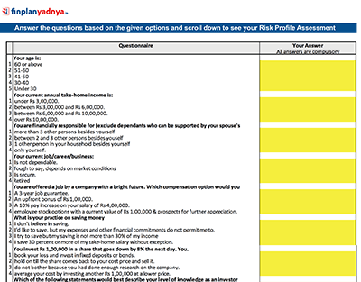 Answer the questions based on the given options and scroll down to see your Risk Profile Assessment